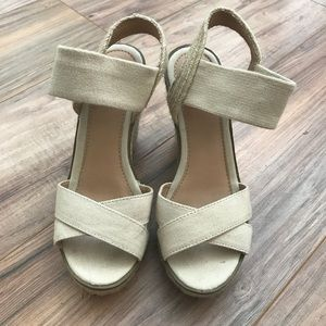 Cream Merona Wedge Sandals